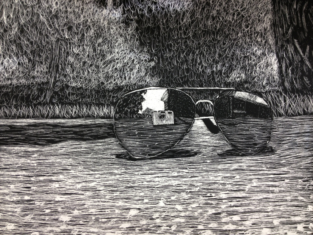 Student Scratch Board Working With Texture Line Value Contrast